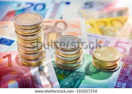 chart euro - rise up - stock photo