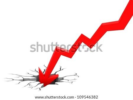 Chart going through the floor - stock photo