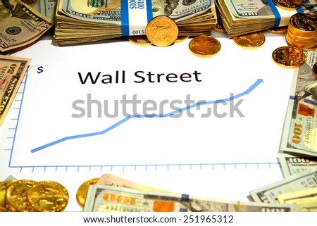 chart graph of wall street rising up with gold money - stock photo