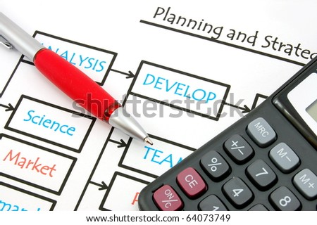 chart pen and calculator showing financial still life - stock photo