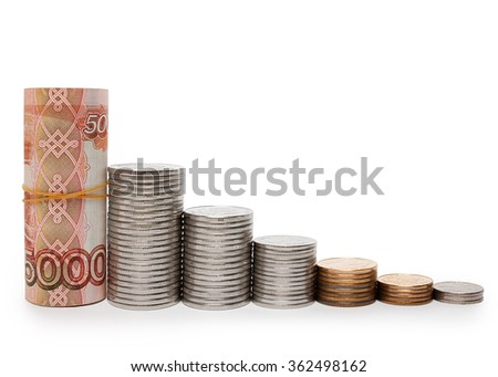 Chart the fall of the ruble in banknotes and coins - stock photo
