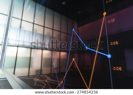 chart with data on screen  - stock photo