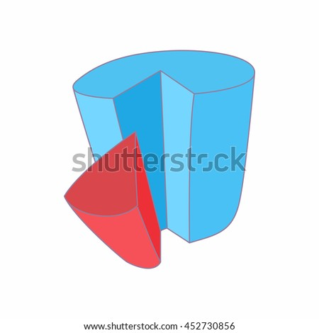 Chart with shares icon in cartoon style isolated on white background. Measurement symbol - stock photo