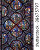 Chartres (Eure-et-Loir, Centre, France) - Interior of the cathedral in gothic style: stained glass - stock photo