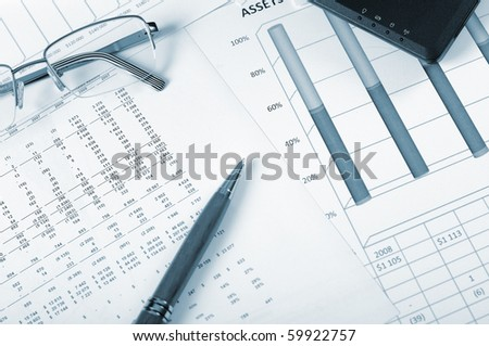 Charts, diagrams, tables. Workplace for the business person.