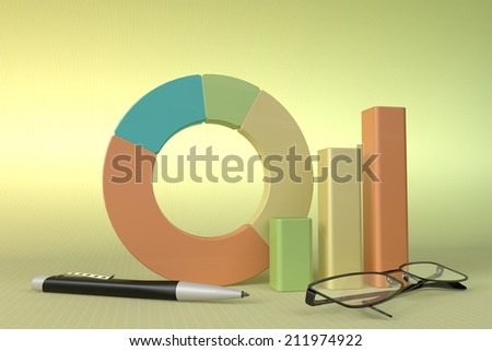 Charts Financial Analysis  with pen and glasses - stock photo