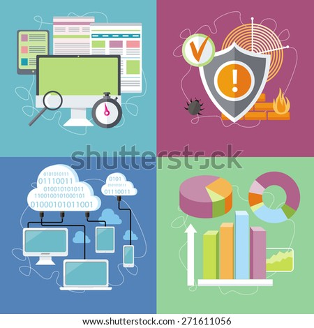 Charts graphs and parameters. Statistic of analytics. Shield antivirus. Antivirus system. Cloud services concept. SEO optimization, programming process and web analytics in flat design. Raster version - stock photo