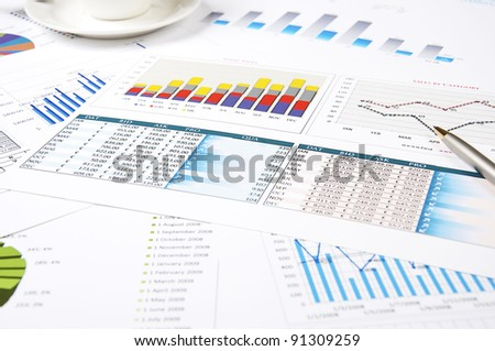 charts of growth, tables , workplace businessman - stock photo