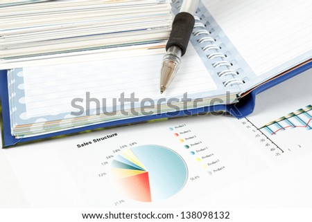 charts, pen, business cards, notes, workplace businessman, business collage