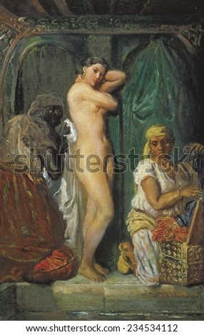 CHASSERIAU, Theodore (1819-1856), The Toilet in the Seraglio, 1849, Romanticism, Orientalism, Oil on canvas,