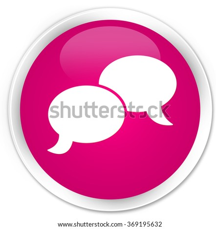 Chat bubble icon pink glossy round button - stock photo