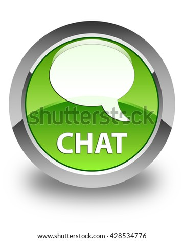 Chat glossy green round button - stock photo