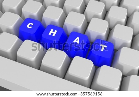 Chat key on the computer keyboard, 3D illustration