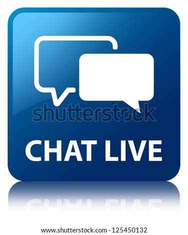 Chat live glossy blue reflected square button - stock photo