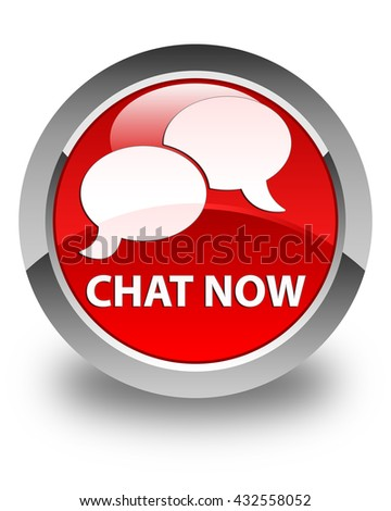 Chat now glossy red round button - stock photo