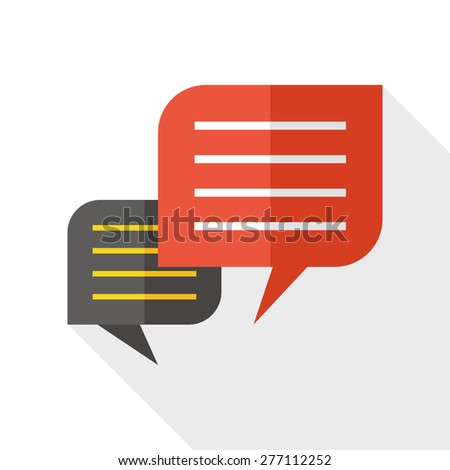 Chat speech flat icon with long shadow - stock photo