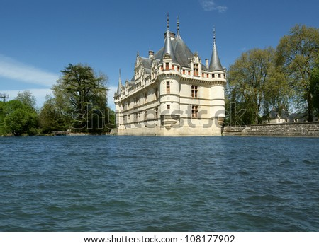 Chateau Azay-le-Rideau (was built from 1515 to 1527), Loire, France - stock photo