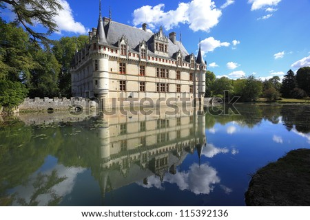 Chateau d'Azay-le-Rideau and reflection - stock photo