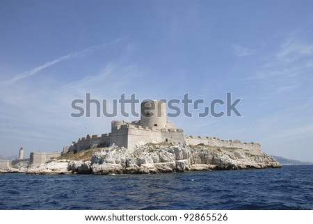 Chateau d'If, famous prison mentioned in Dumas Monte Cristo novel, Marseille, France - stock photo