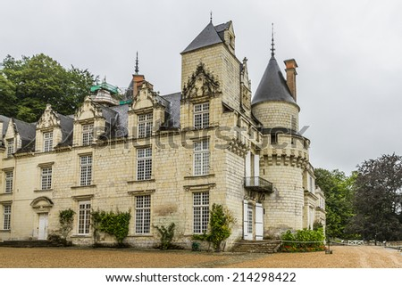 Chateau d'Usse (XV - XVI century) located in commune of Rigny-Usse in Indre-et-Loire department, France. Stronghold at edge of Chinon forest overlooking Indre Valley was first fortified in XI century. - stock photo