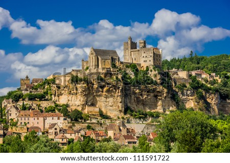 chateau de beynac castle dordogne perigord France - stock photo
