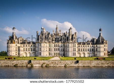 Chateau de Chambord, royal medieval french castle. Loire Valley, France, Europe. Unesco heritage site. - stock photo