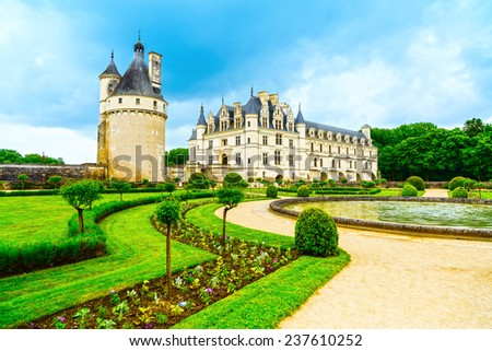 Chateau de Chenonceau royal medieval french castle and garden. Chenonceaux, Loire Valley, France, Europe. Unesco heritage site. - stock photo