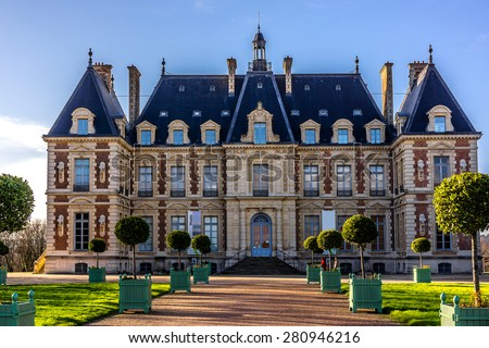 Chateau de Sceaux - grand country house in Sceaux, Hauts-de-Seine, not far from Paris, France. Located in a park laid out by Andre Le Notre, it houses Ile-de-France Museum, a museum of local history. - stock photo