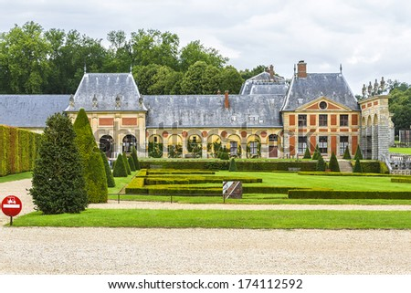 Chateau de Vaux-le-Vicomte (1661) - baroque French Palace located in Maincy, near Melun, in Seine-et-Marne department of France. Outdoor view. - stock photo