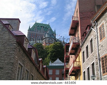 chateau frontenac above side street - stock photo