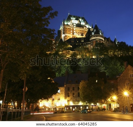 Chateau Frontenac at dusk and lights street, Quebec City - stock photo
