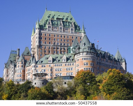 Chateau Frontenac in autumn, Quebec City - stock photo