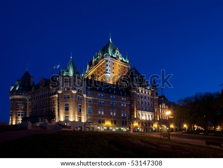 Chateau Frontenac in Quebec City at dusk side view - stock photo