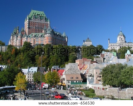 chateau frontenac over the city - stock photo