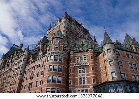 Chateau Frontenac, Quebec, Canada, in winter. - stock photo
