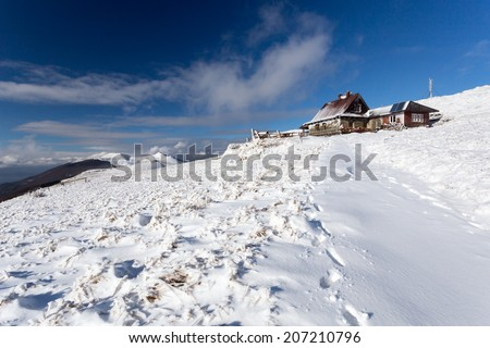 Chatka Puchatka - mountain hut in Bieszczady - stock photo