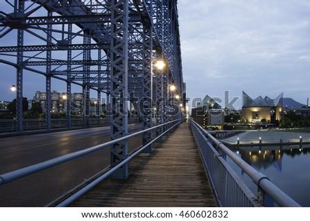 Chattanooga at Night with Bridge. - stock photo