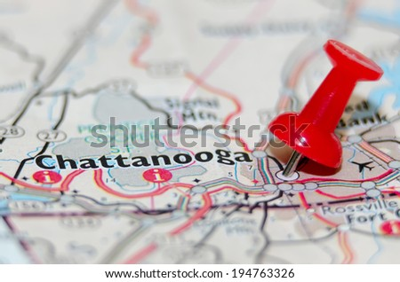 chattanooga city pin on the map - stock photo