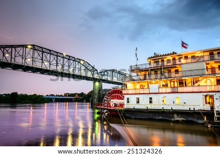 Chattanooga, Tennessee, USA on the Tennessee River. - stock photo
