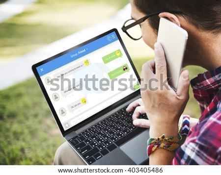 Chatting Online Messaging Forum Friends Concept - stock photo