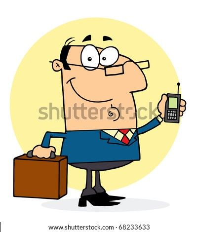 Chatty Caucasian Businessman Holding A Briefcase And Cell Phone - stock photo