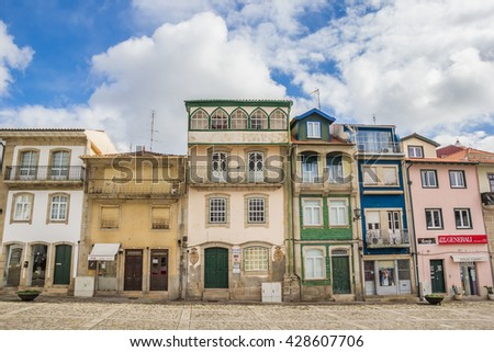 CHAVES, PORTUGAL - APRIL 23, 2016: Colorful houses at the central square