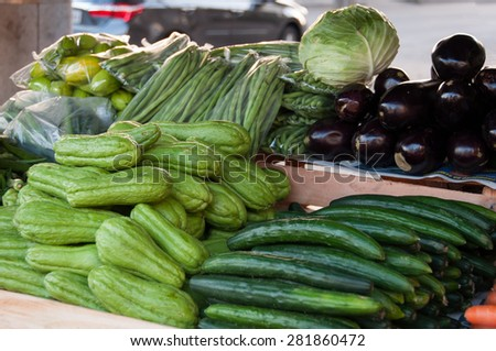 Chayote and Cucumber for Sale in the Brazilian Market - stock photo