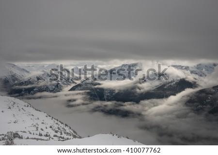 Cheakamus lake and surrounding mountains in Whistler, Canada - stock photo