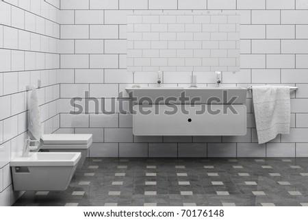 cheap bathroom interior - stock photo