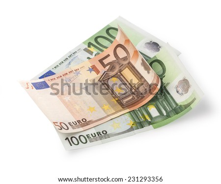 Cheap-Money-Euro-Eu ropean currency with clipping path - stock photo