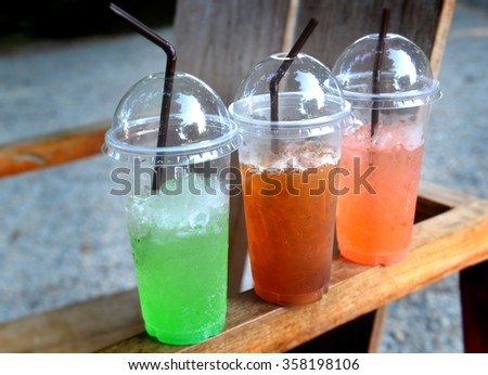 cheap summer street ice sweet drink - stock photo