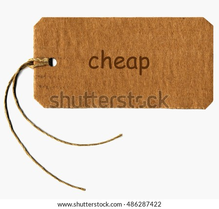 cheap tag with string isolated over white