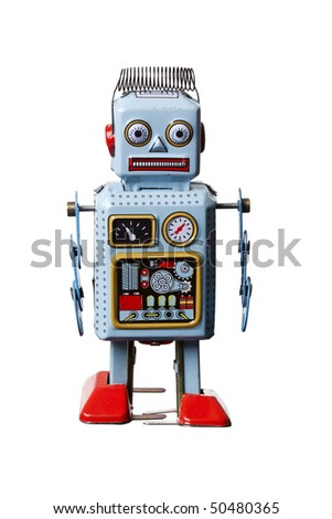 cheap toy robot isolated on white