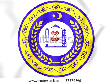 Chechen Republic Coat of Arms, Russia.  3D Illustration.  - stock photo